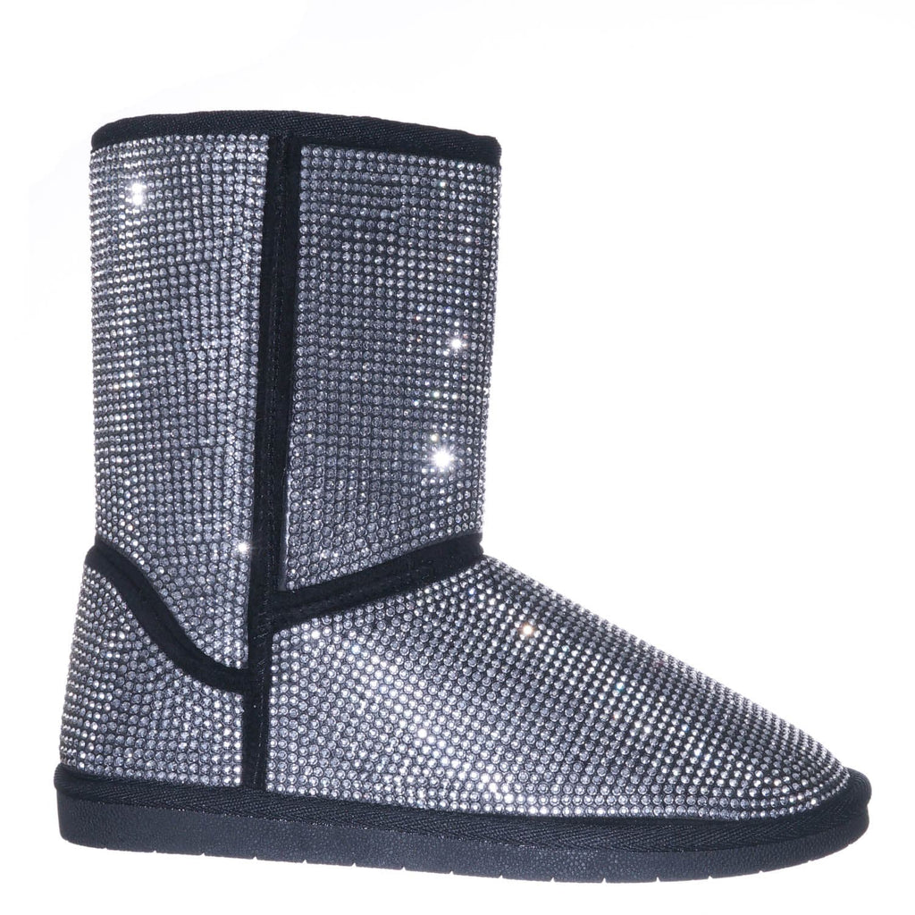 Silver Black / Ann20 Rhinestone Studs Mukluk  Lined  Boots - Women's Mid Calf Winter Shoes