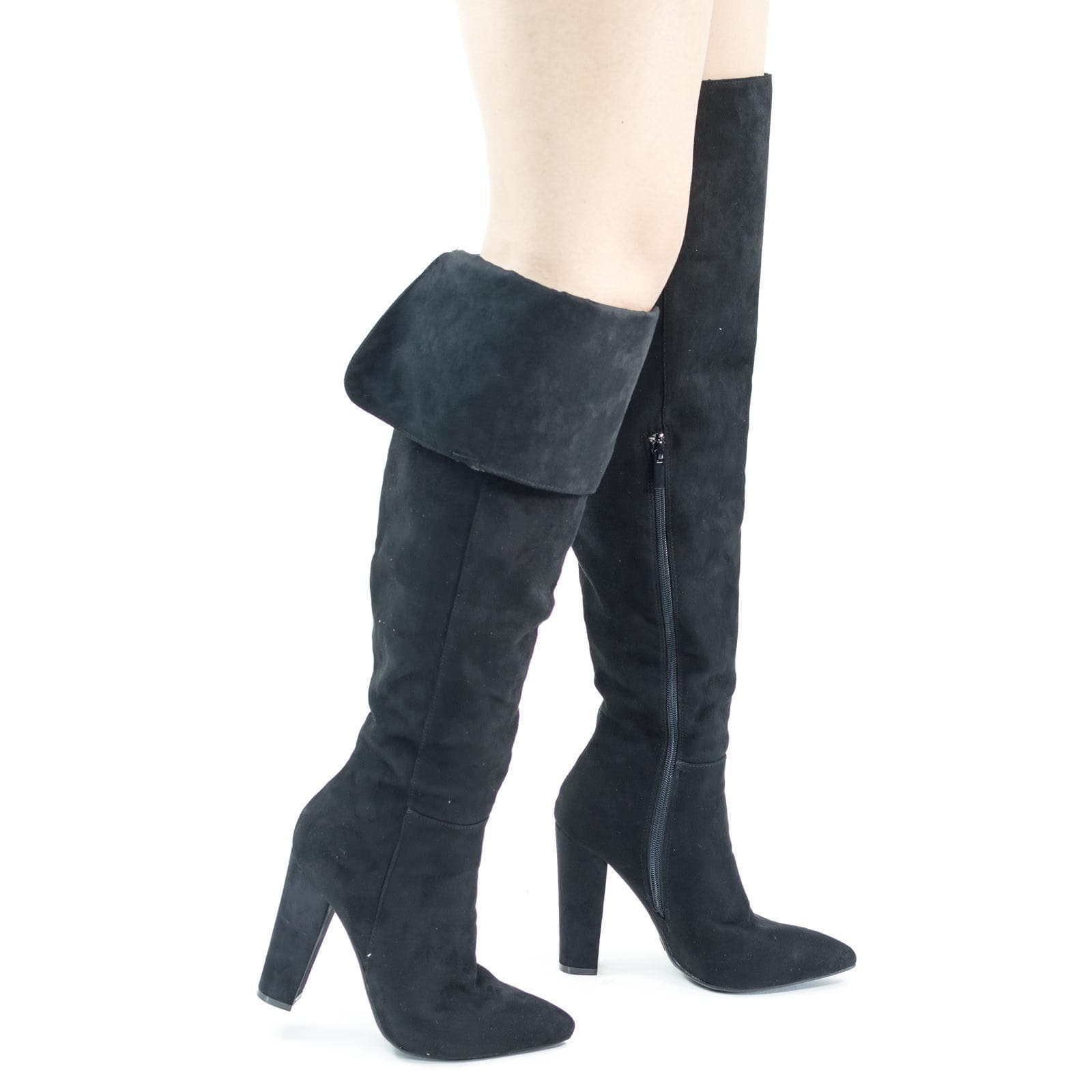 Madam37 BlkFs Faux Fur Lining Foldable Knee High Block High Heel Boot, Snakeskin