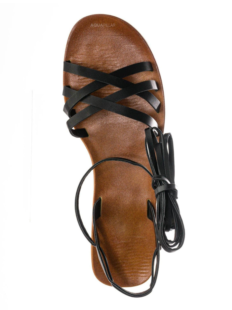 Black Bnh / Moondance30 Flat Leg Wrap Gladiator Sandal - Wraparound Lace Up Strappy Shoes