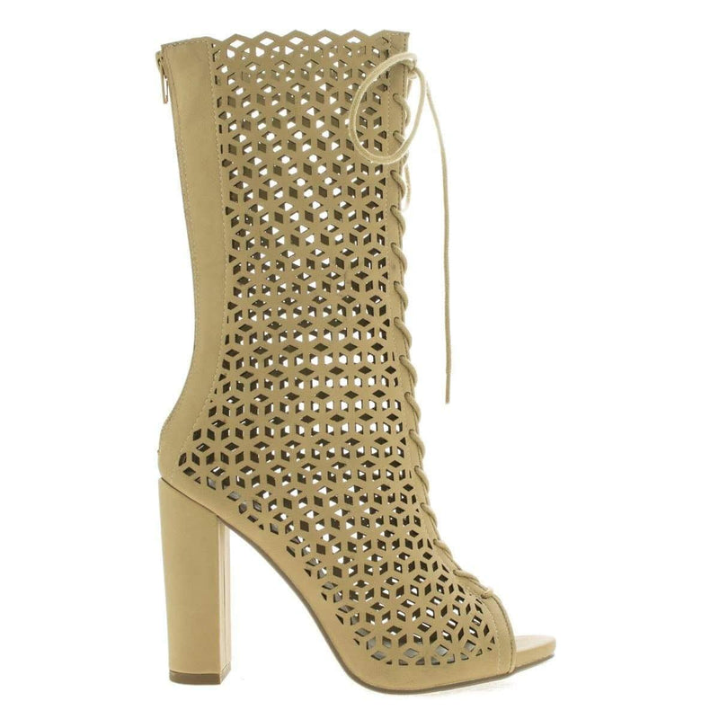 Program Natural By Paprika, Peep Toe Geometric Cutout Lace Up Chunky Heel Boots