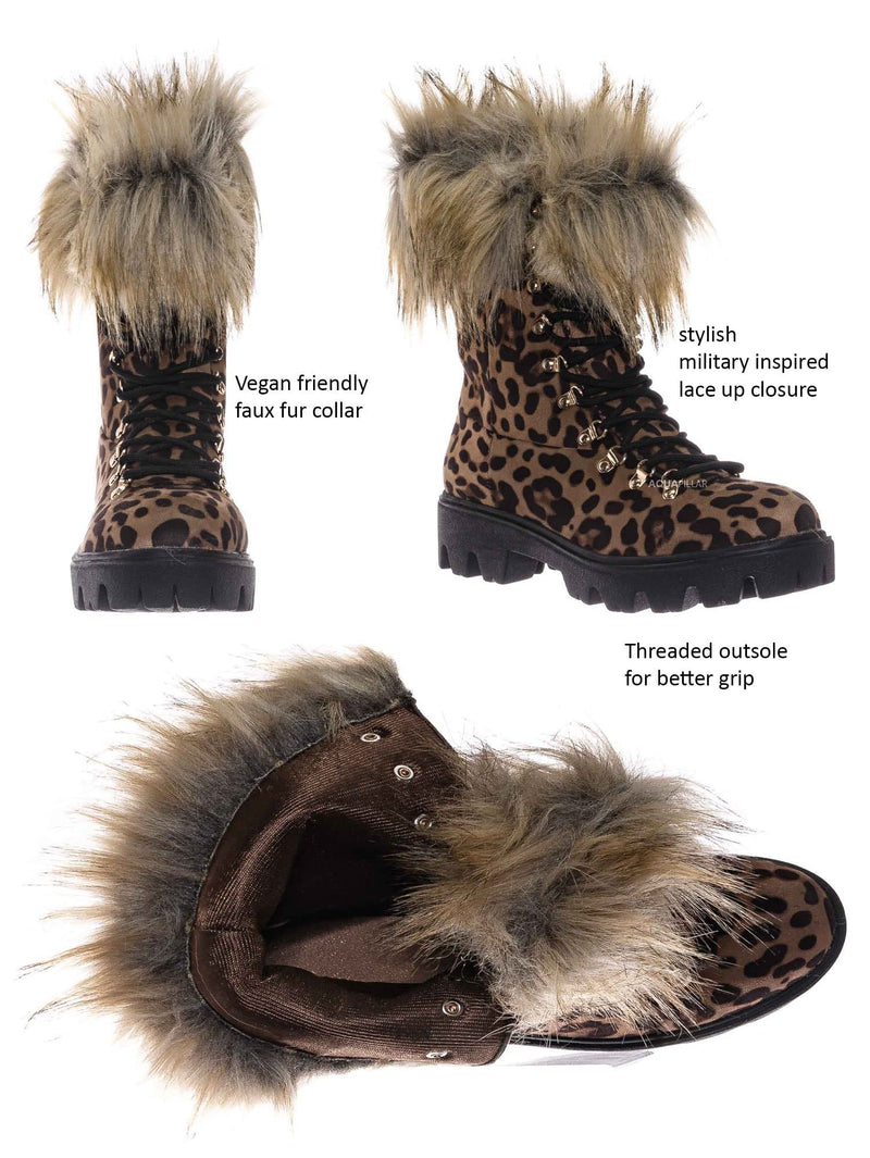 Leopard / Force11 Faux Fur Combat Boots - Fluffy Military Vegan Furry Shoes