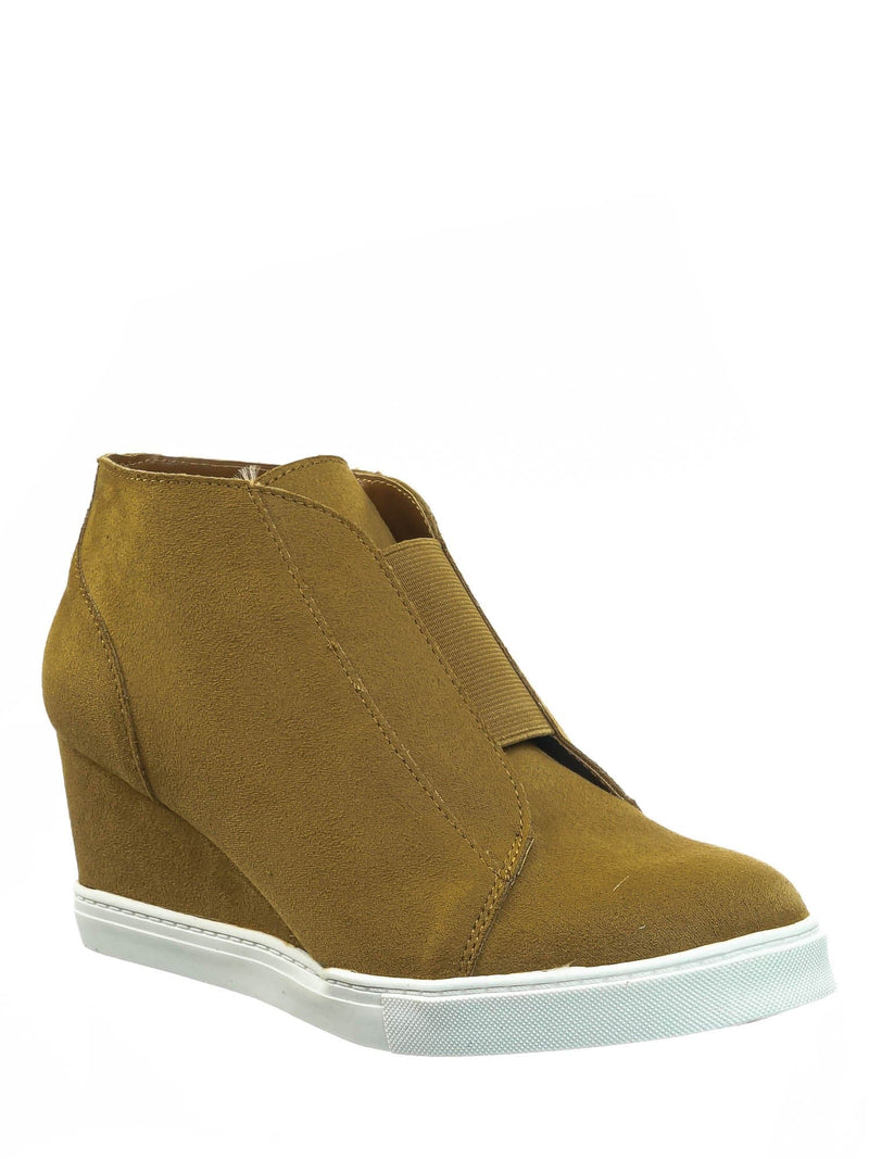 Vesper Chamoise Yellow Hidden Wedge Heel Sneakers - Women Sporty Elastic Shootie