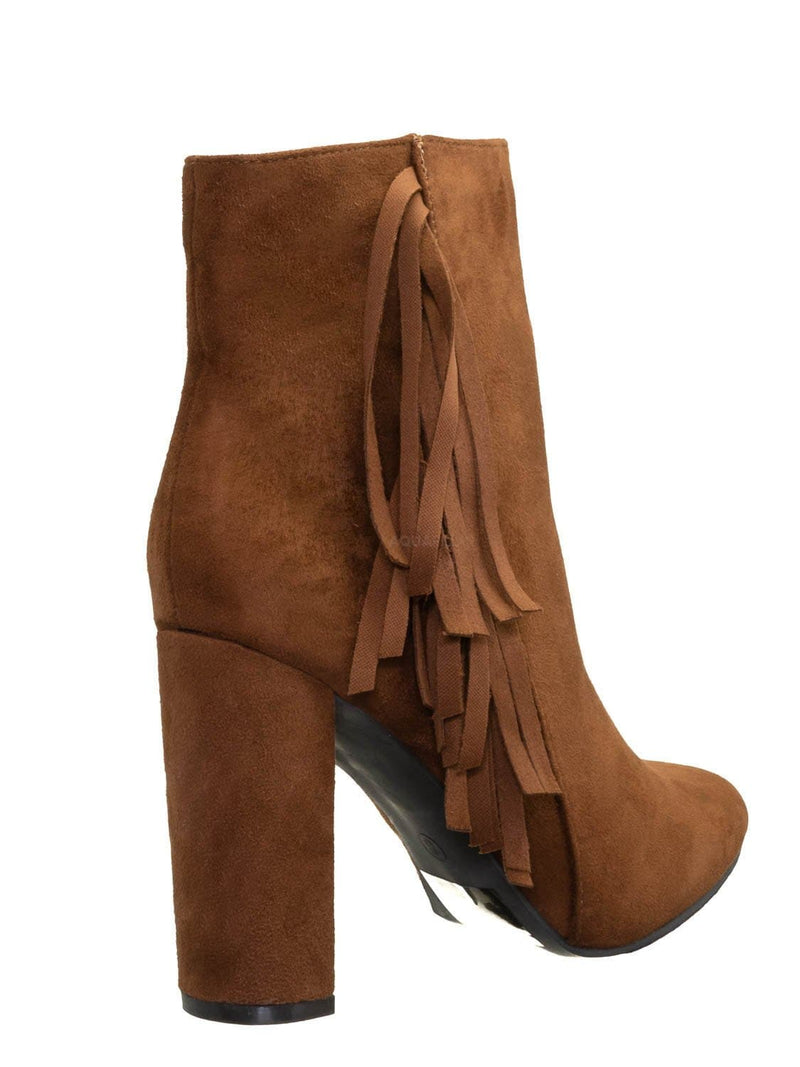Tan Brown / Lisa12 20s Retro Fringe Ankle Bootie - Flappy Tassel Block High Heel Dress Boots