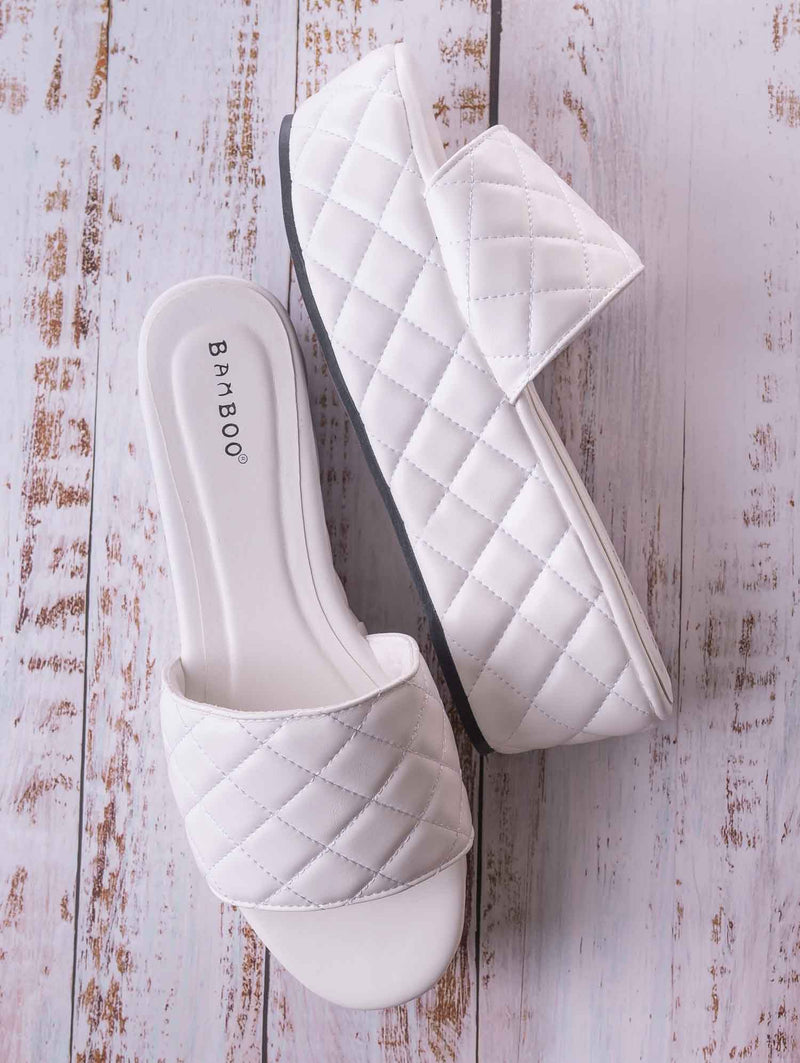 Purchase23 Quilted Flatform Slipper Mule - Platform Diamond Stitch Slide Sandals