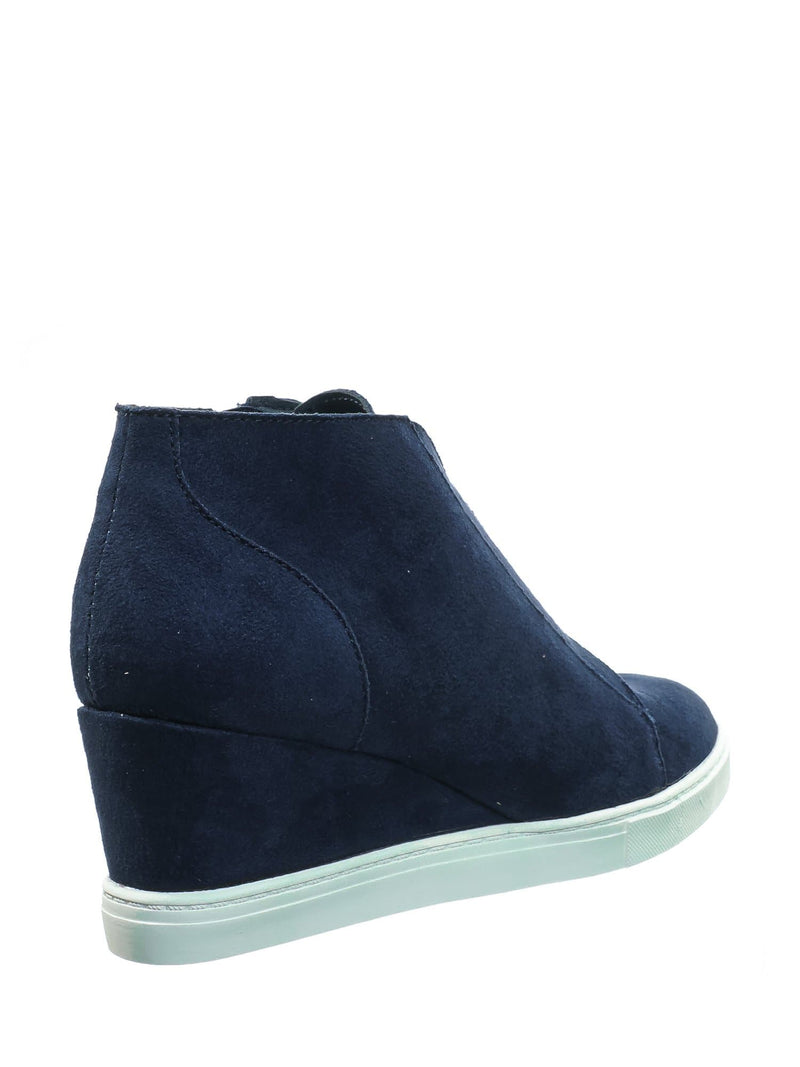 Vesper Navy Blue Hidden Wedge Heel Sneakers - Women Sporty Elastic Shootie