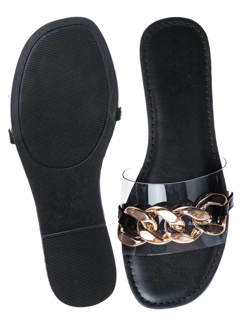Gold Black / Laughter24 Oversized Chain On Lucite Vinyl Strap - Summer Slip On Slide Sandal