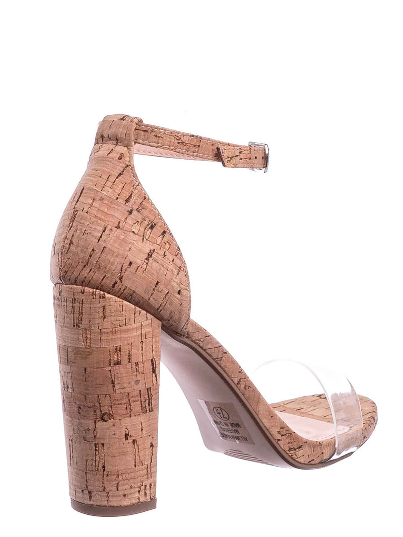 Natural Cork / Share Block Heel Lucite Sandal - Women Chunky Open Toe w Transparent Strap