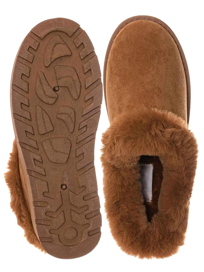 Tan Brown / Frozen31 Faux Fur Moccasin Slipper - Winter Fluffy Cozy Bootie