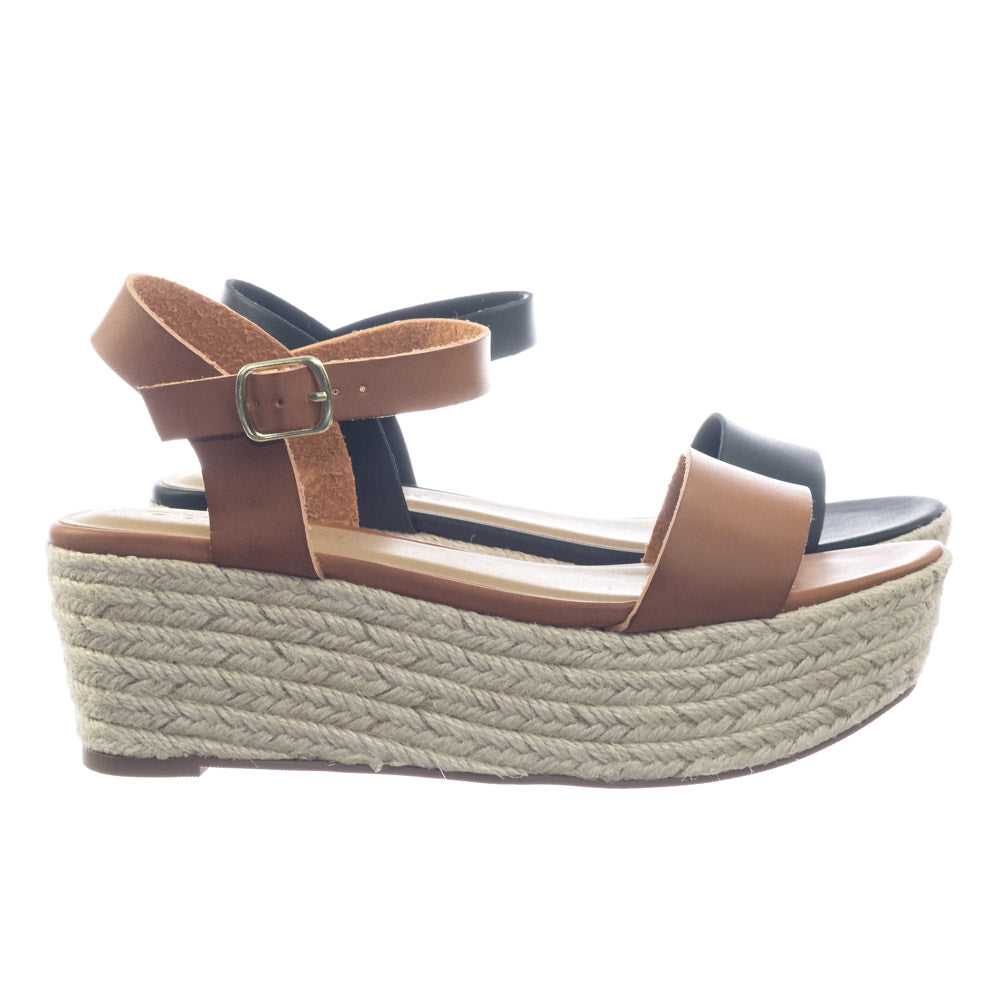 Picosa by City Classified Jute Espadrille Rope Wrap Flatform Open Toe Sandal w Ankle Strap