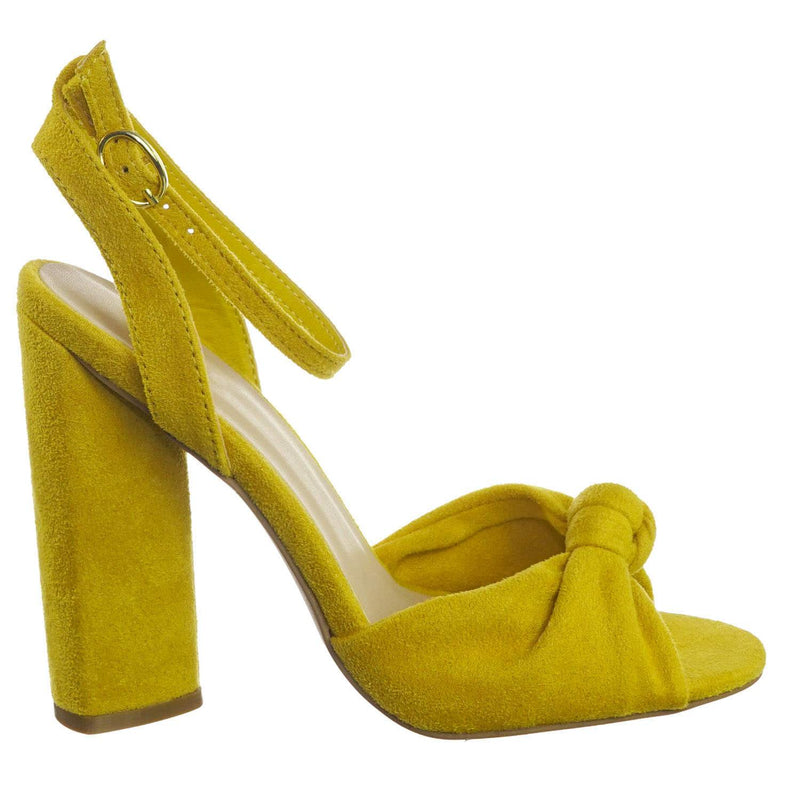 Lyra102 YlwStrSu Knotted Open Toe Dress Sandal On Block Heel Adjustable Ankle Strap