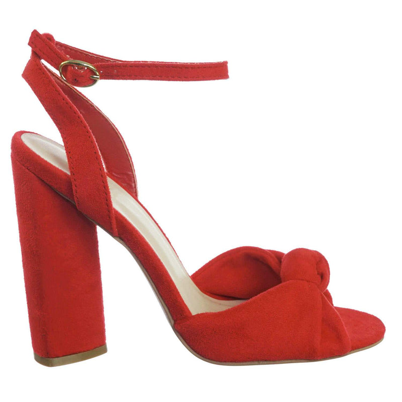 Lyra102 RedStrSu Knotted Open Toe Dress Sandal On Block Heel Adjustable Ankle Strap