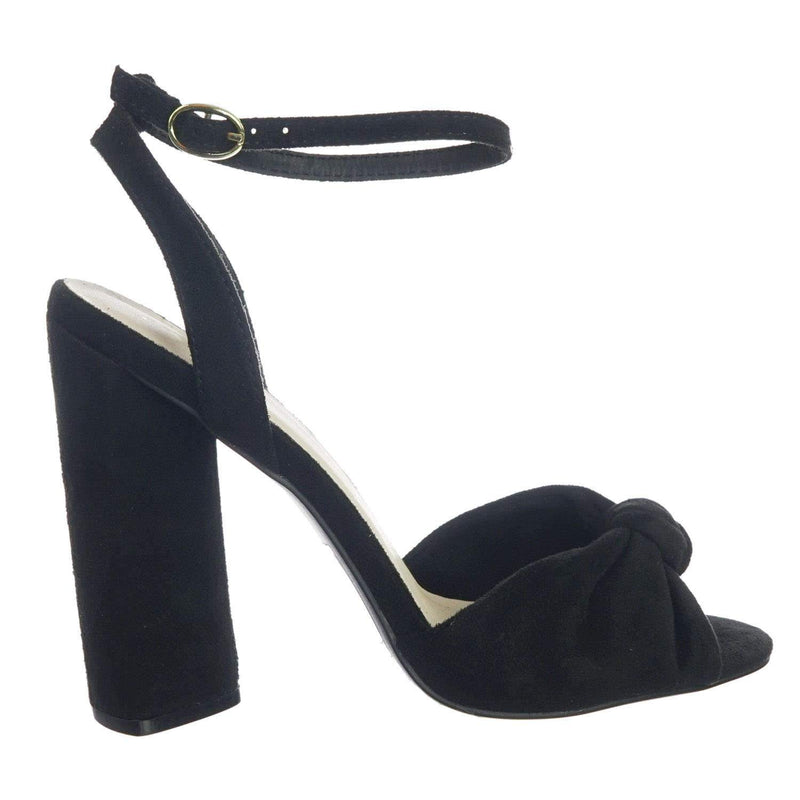 Lyra102 BlkStrSu Knotted Open Toe Dress Sandal On Block Heel Adjustable Ankle Strap
