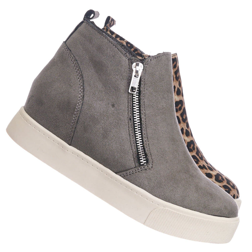 Mid Gray / Taylor High Top Hidden Wedge Sneaker  - Women Zipper Laceless Round Toe Shoe
