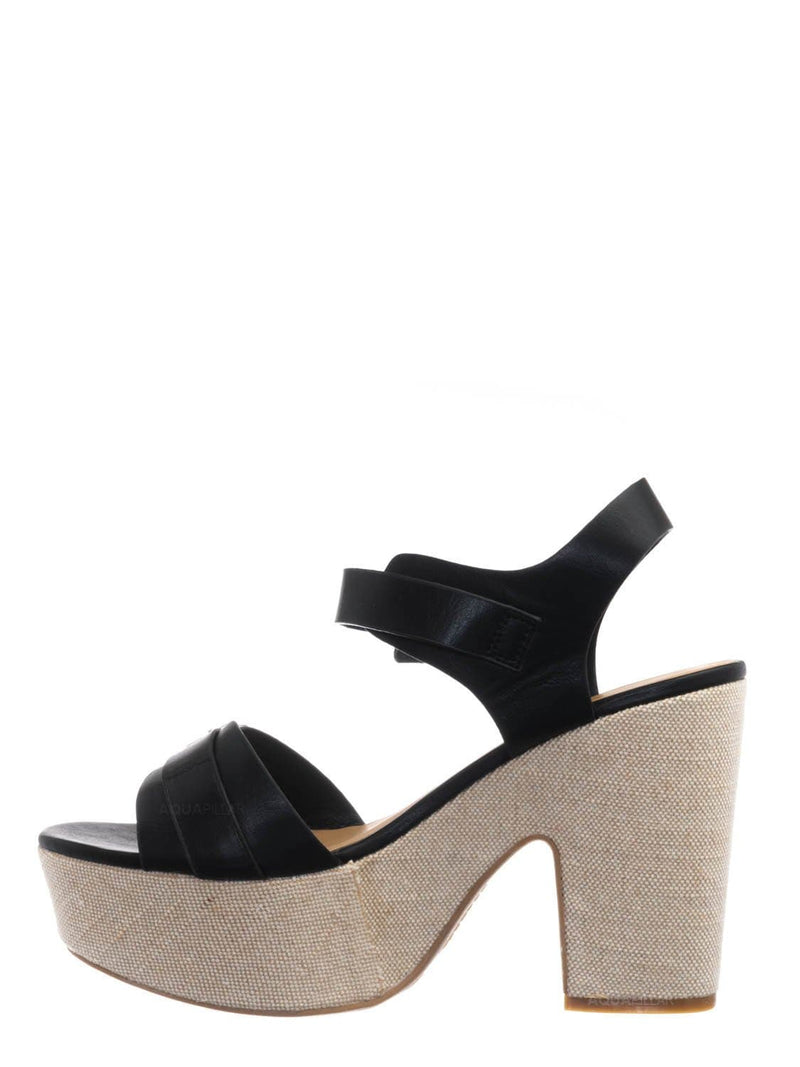 Black / Special05 Retro Raffia Woven Clog - Wrapped Sculpted Chunky Block Heel Platform