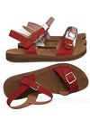 Red / Reform9 Comfortable Flatform Open Toe Sandal w Rubber Outsole & Ankle Strap