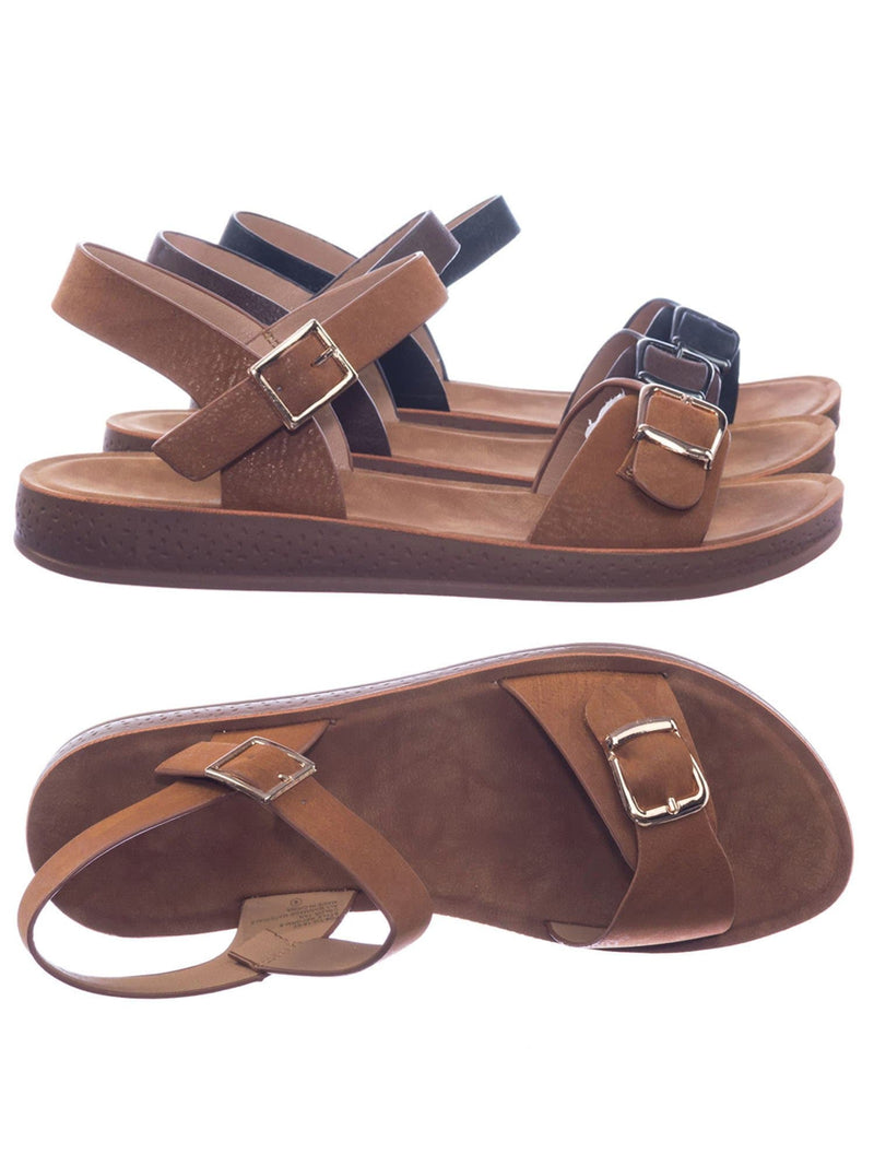 Tan / Reform9 Comfortable Flatform Open Toe Sandal w Rubber Outsole & Ankle Strap