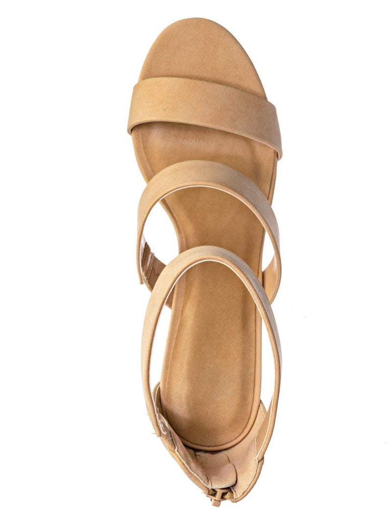 Nude Beige  / Nutmeg Dressy Ankle High Heel Sandal - Womens 3 Strap Open Toe Chunky Block Shoe