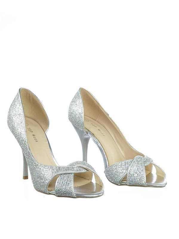 Robin1 Silver Shinny Glitter Peep Toe Half d'Orsay High Heel Dress Pump