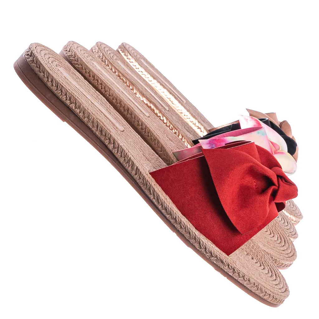 Red / Athena12 Espadrille Woven Knotted Bow Slides - Jute Rope Weaved Slip On Sandal