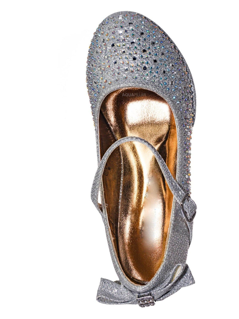 Silver Glitter / Tasha004E Girl Rhinestone Crystal Mary Jane Pump - Kids Block Heel Dress Shoes
