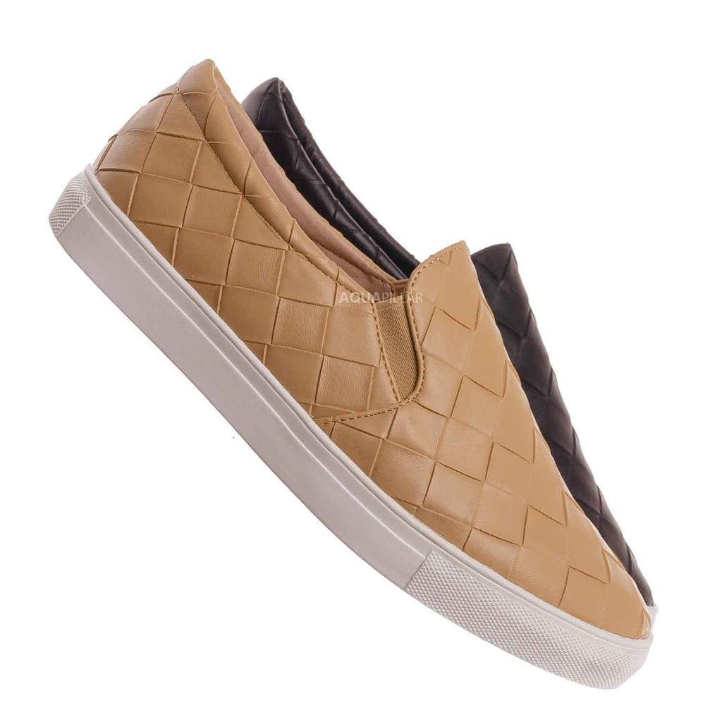 Nud Beige / Design33 Woven Platform Slip On Sneaker - Women Slide In Athletic Loafer