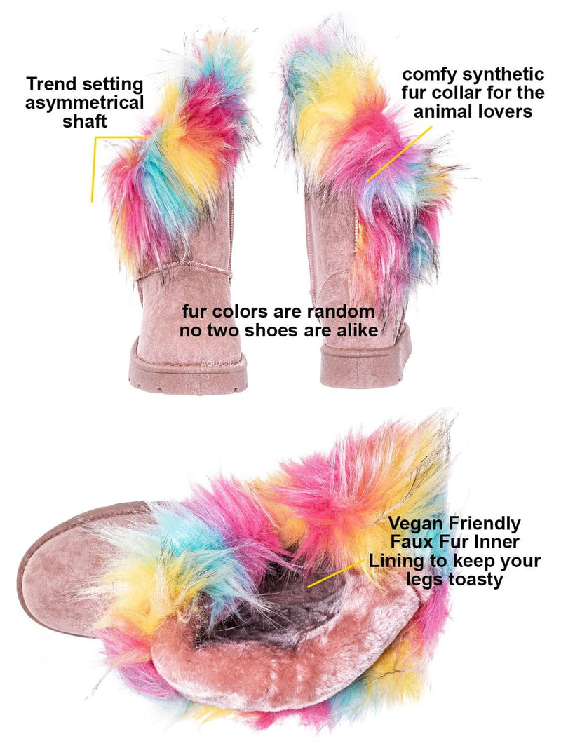 Pink / Frozen01 Asymmetrical Faux Fur Mukluks - Womens Winter Cozy Boots