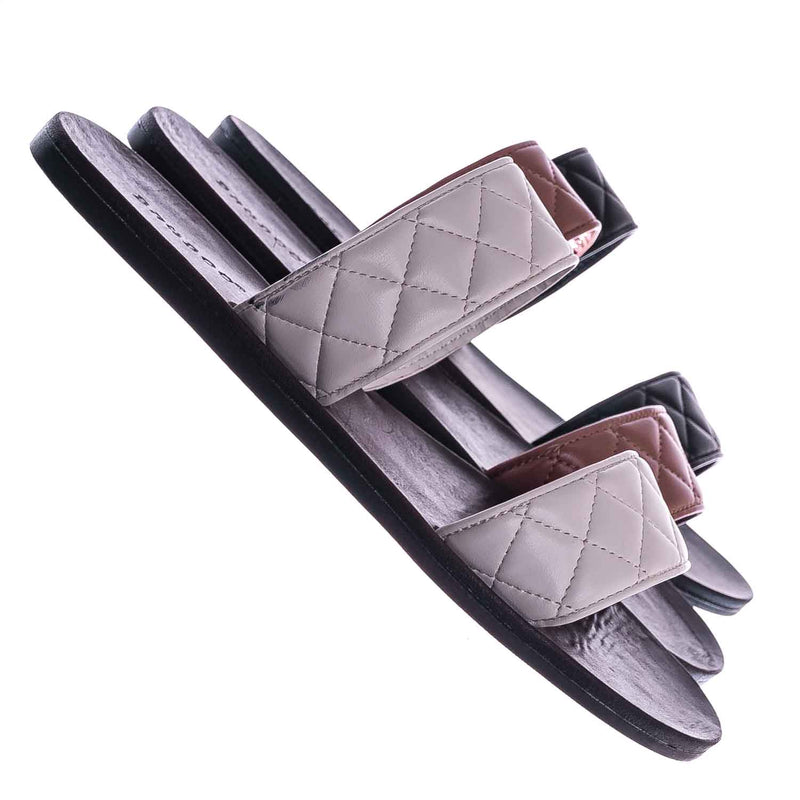 Moonbeam65 Quilted Double Strap Slides - Summer Slip On Flat Slipper Sandal