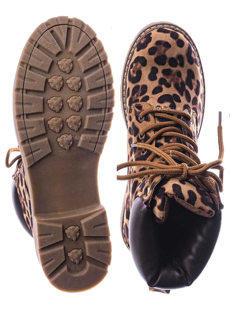 Leopard Brown / Broadway3 Military Fashion Combat Boots - Lace Up Threaded Lug Sole Ankle Bootie