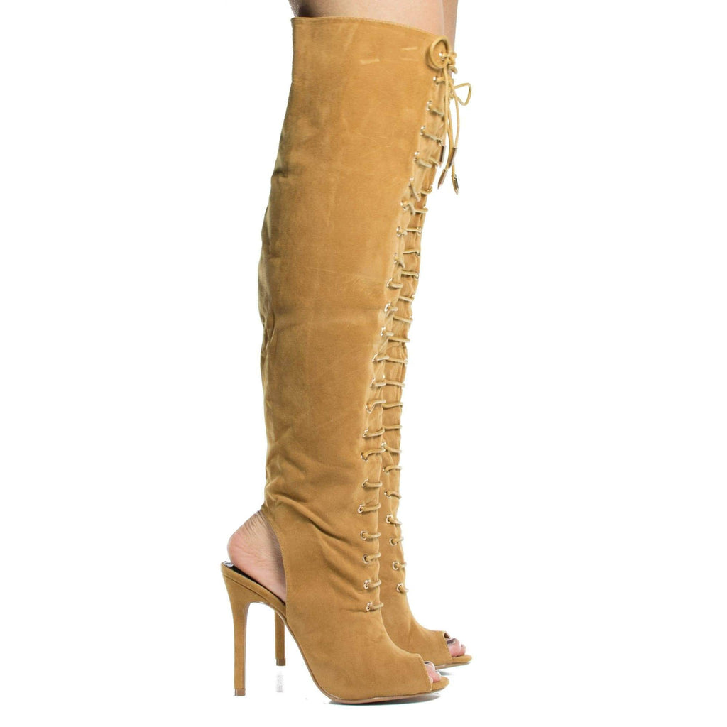 Gracia By Shoe Republic, Peep Toe Corset Boots w High Heel Open Back