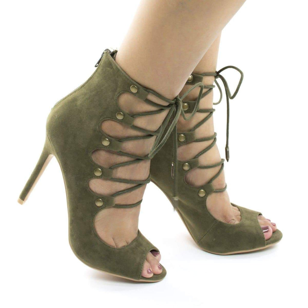 Natalia Black By Shoe Republic, Ghillie Corset Lace Up Peep Toe High Heel Sandal Pump Bootie