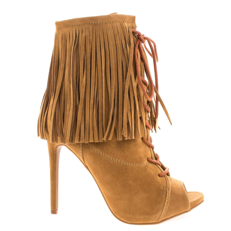 Pompeo Chestnut By Shoe Republic, Boho Peep Toe Fringe Ankle Boots w/ Corset Lace Up High Heel Shoes