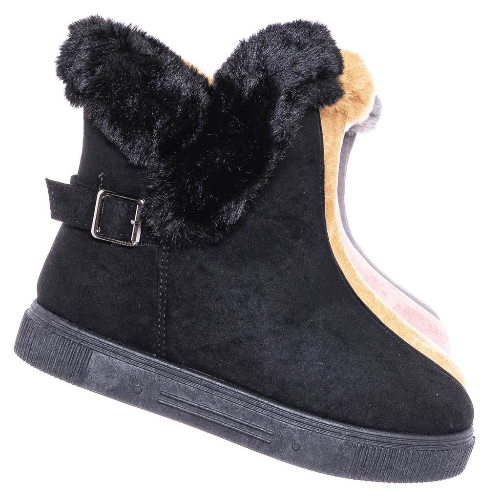 Black F-Suede / Cozette03 Foldable Winter Faux Fur Slipper Bootie - Fold Shearling Snow Shoe