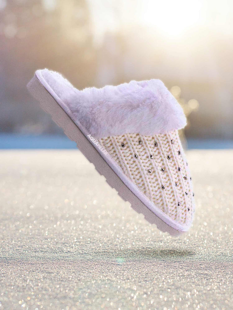 Snuggle06 Furry Flatbed Sweater Moccasin Slipper -Women Knitted Fur Winter Slide