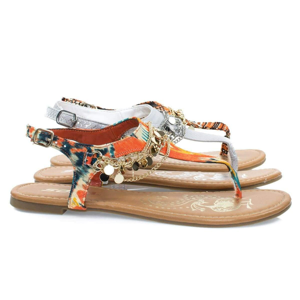 Above By Soda, Women's Metal Chain Flat Thong Sandal w Multi Colored Print & Sling Back Ankle Strap