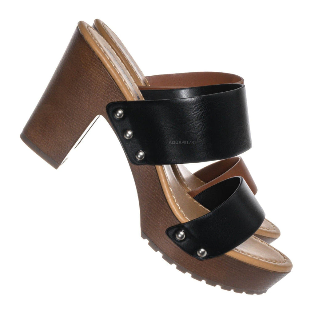 Black / Academy Lightweight Sculpted Clog Sandal - One Piece Block Heel Platform Slides