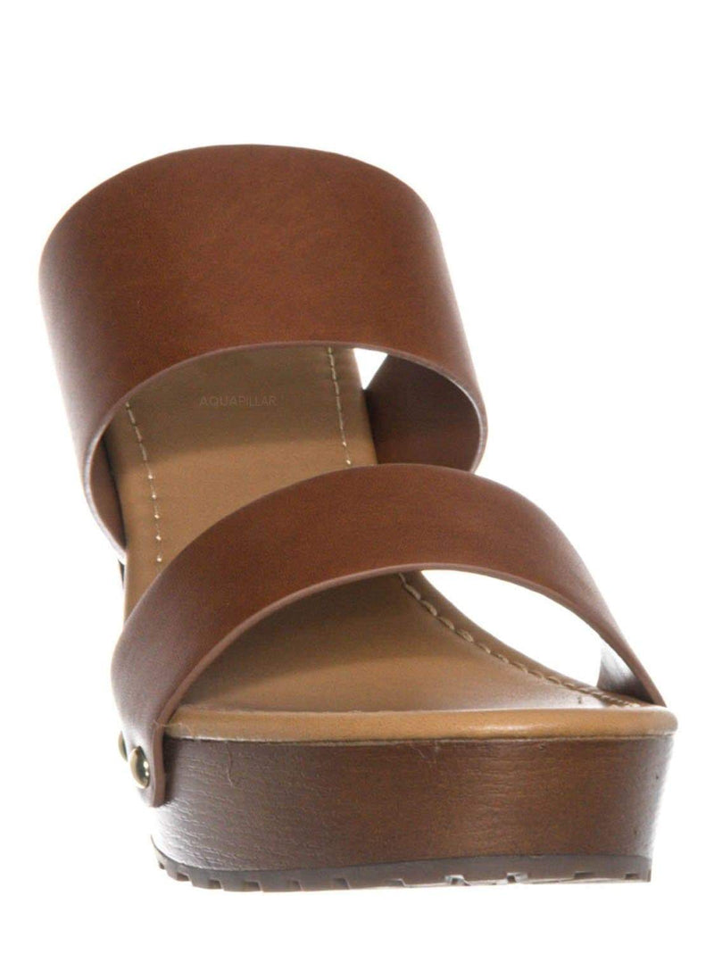 Tan Brown / Academy Lightweight Sculpted Clog Sandal - One Piece Block Heel Platform Slides