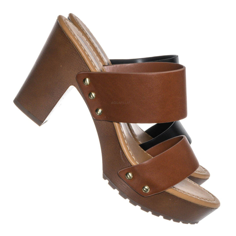 Academy Lightweight Sculpted Clog Sandal - One Piece Block Heel Platform Slides
