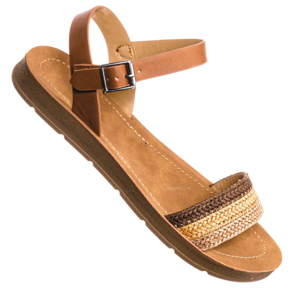 Brown Multi / Ample Boho Woven Flat Sandal - Women Contoured Novelty Bohemian Strap