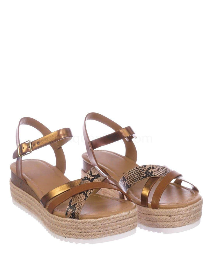 Tan Brown Python / Anita TanPytMul Espadrille Flatform Wedge Sandal - Color Combo Sharktooth Open Toe Shoe