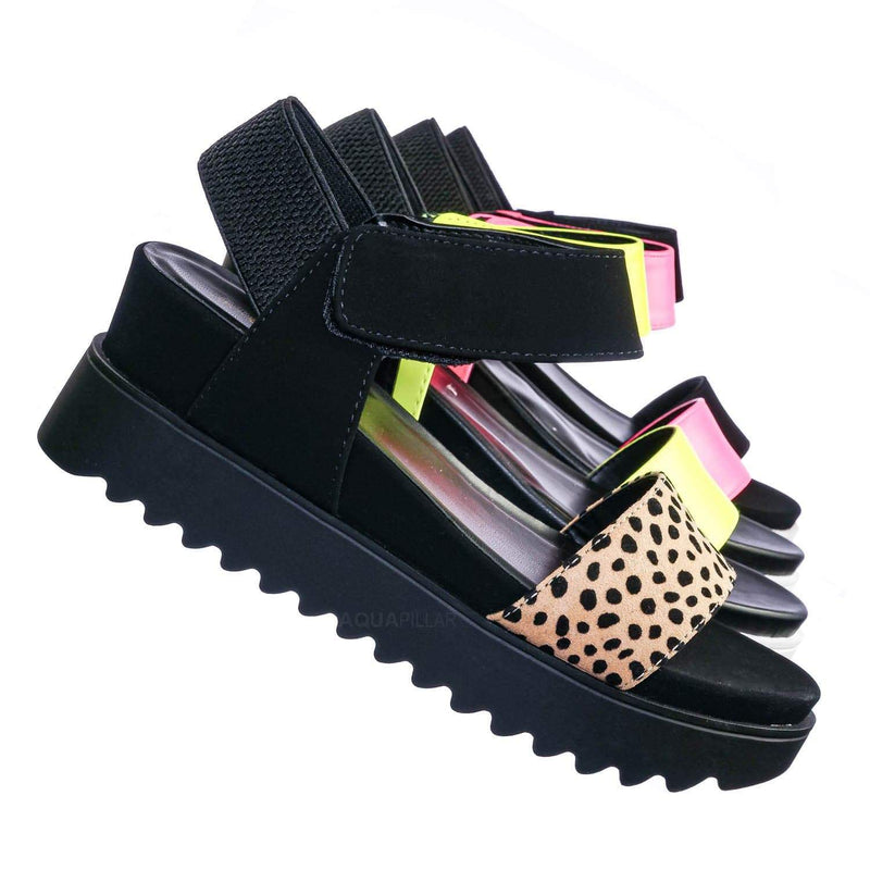 Natural Cheetah / Aster Saw Edge Rubber Outsole Flatform Sandal - Shark tooth Threaded Outsole