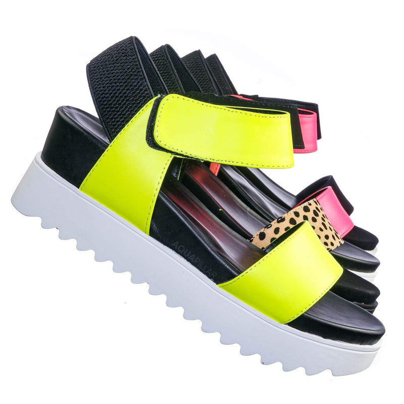 Neon Yellow / Aster Saw Edge Rubber Outsole Flatform Sandal - Shark tooth Threaded Outsole