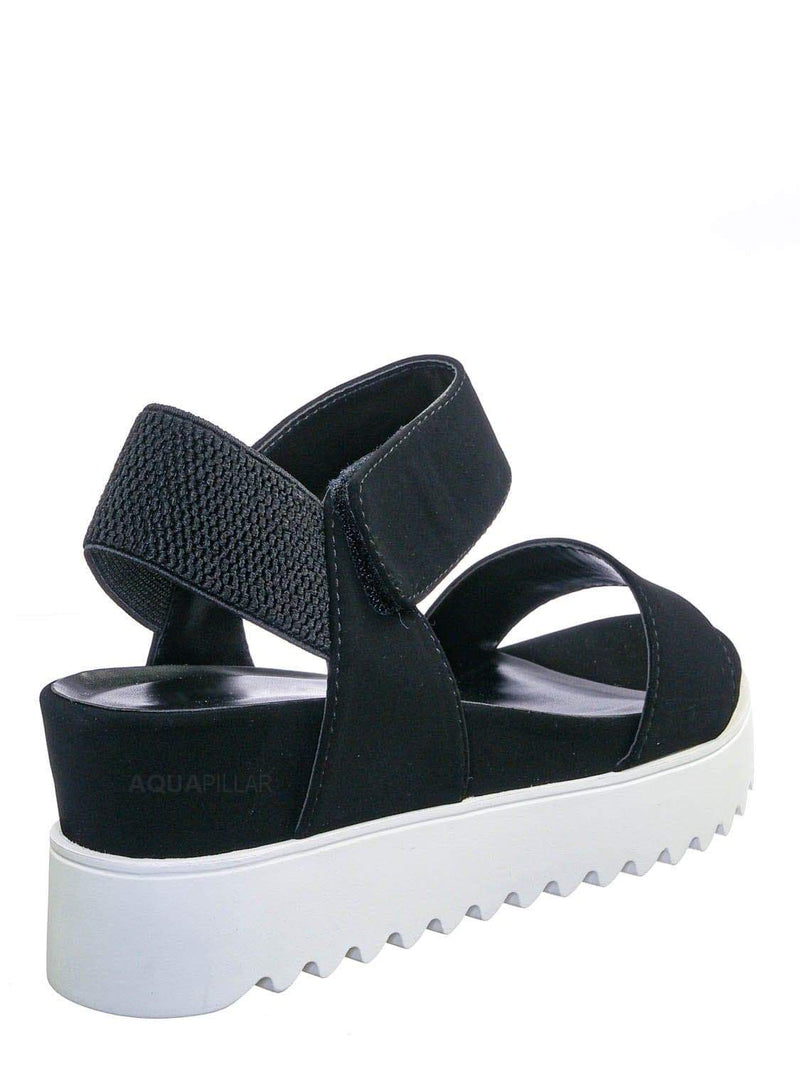 Black White / Aster Saw Edge Rubber Outsole Flatform Sandal - Shark tooth Threaded Outsole