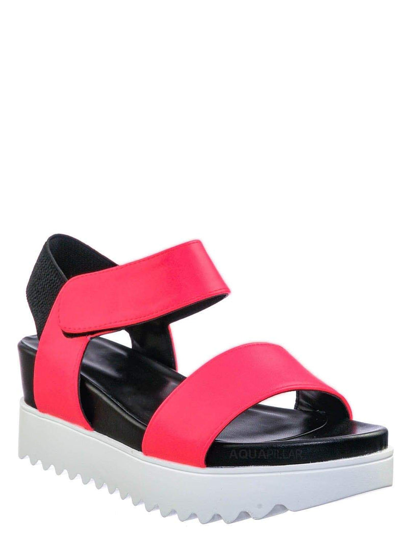 Neon Pink / Aster Saw Edge Rubber Outsole Flatform Sandal - Shark tooth Threaded Outsole