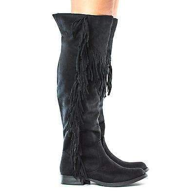 Before By Soda, Cognac Knee High Western Fringe Zip Up Faux Wooden Heel Boots