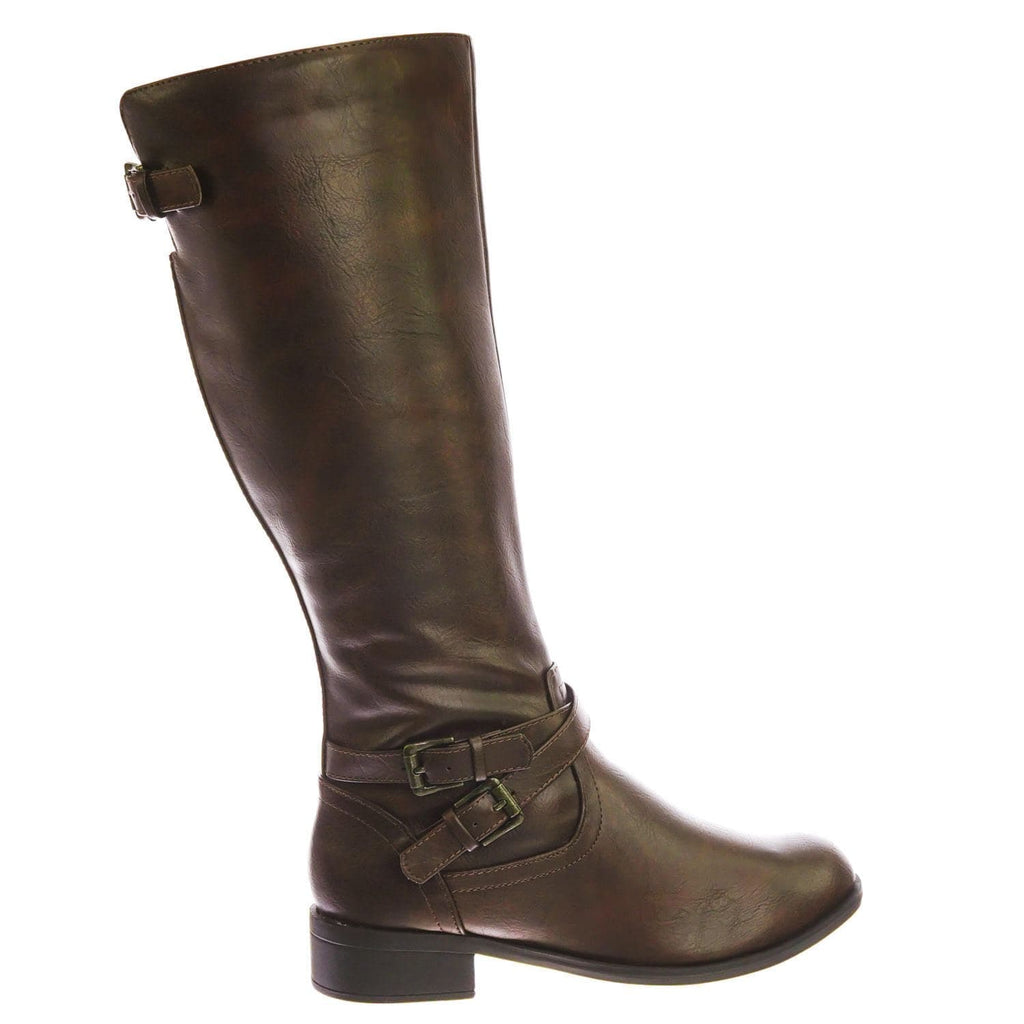 Bio Brown Equestrian Inspired Fashion Riding Boots w Belt & Zipper Detail