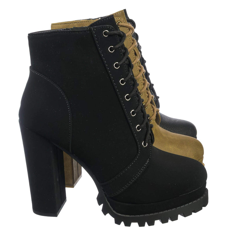 Black Nubuck / Bring Black Nubuck Ankle High Lita Booties - Womens Combat Laced Up Chunky Block Heels