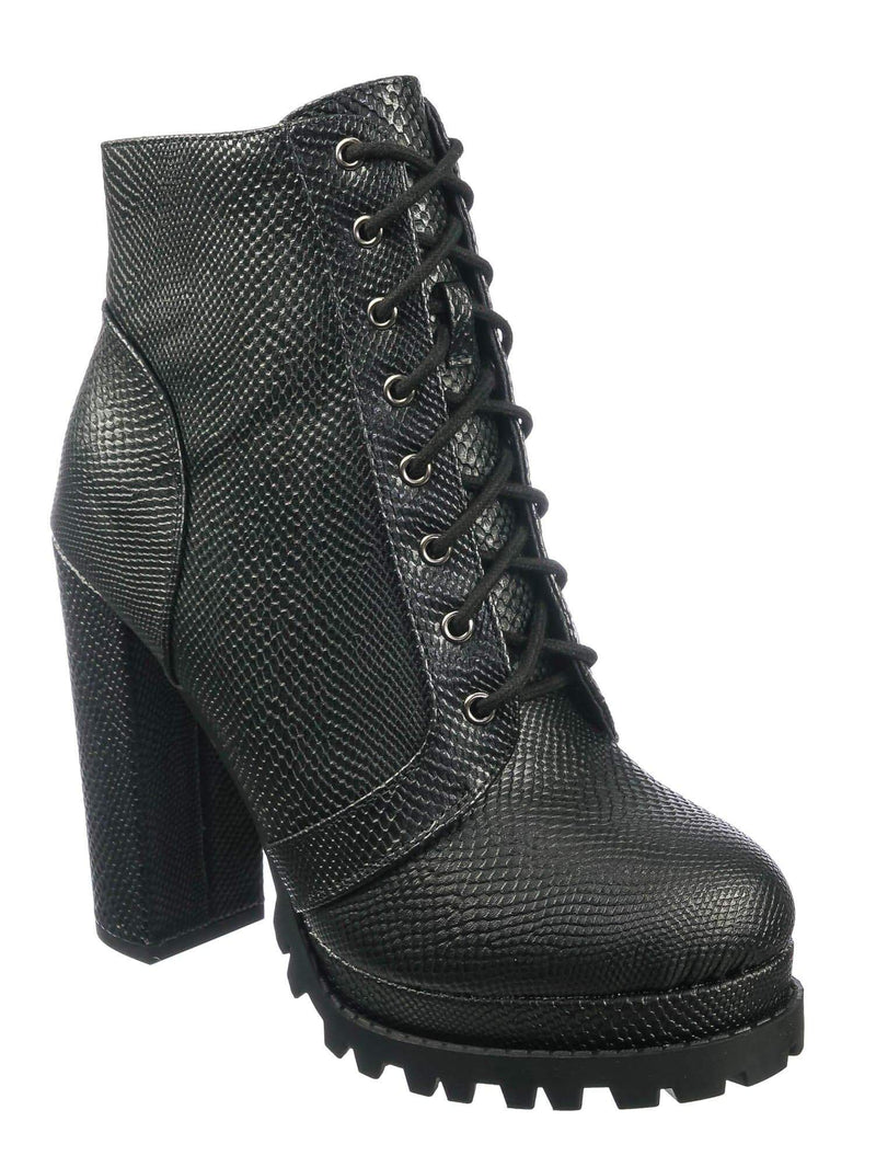 Black Snake / Bring Black Snake Ankle High Lita Booties - Womens Combat Laced Up Chunky Block Heels