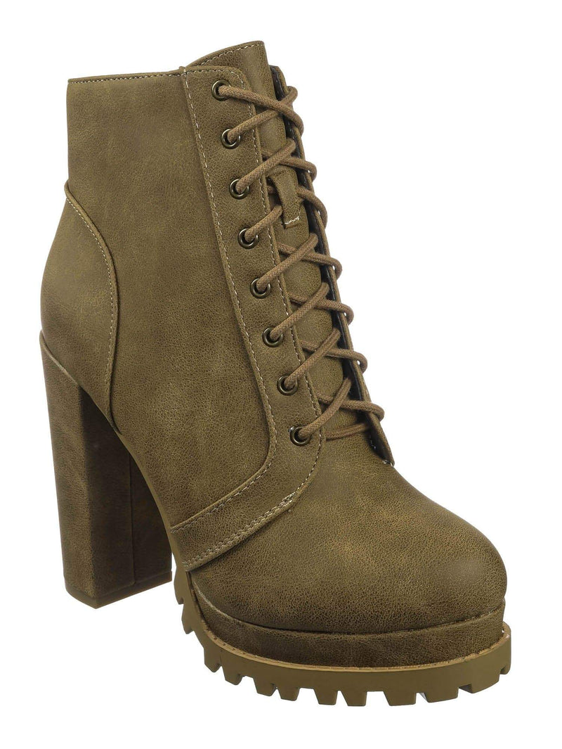 Taupe Beige / Bring Taupe Beige Ankle High Lita Booties - Womens Combat Laced Up Chunky Block Heels