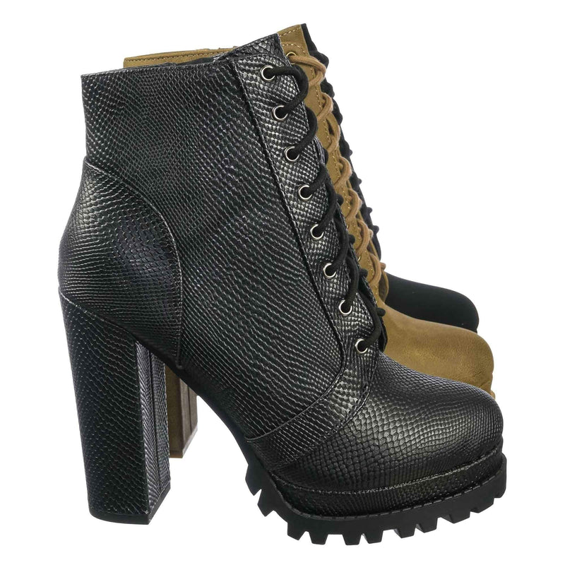 Bring Ankle High Lita Booties - Womens Combat Laced Up Chunky Block Heels