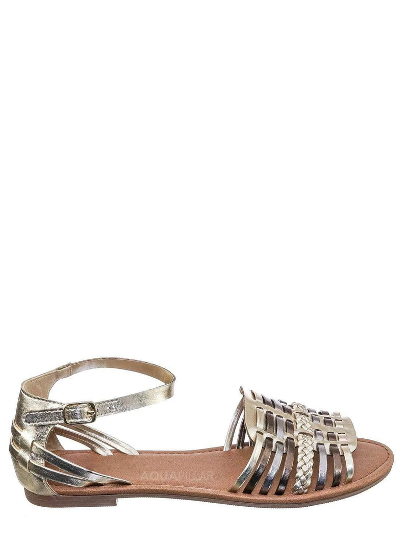 Light Gold Multi / Candle Woven Fisherman Huaraches Flat Peep Toe Sandal, Strappy Cage Gladiators